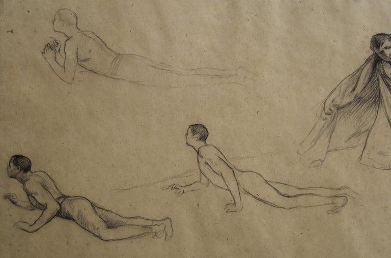 G. A. Rochegrosse (1859-1938) Studies of men, original drawing For Sale 1