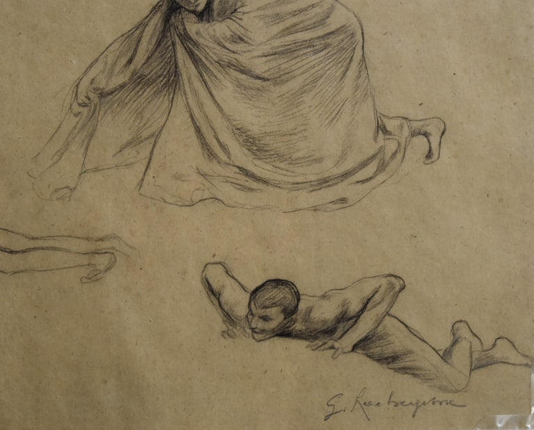 Georges Antoine Rochegrosse  (1859-1938)  Studies of men,  Pencil on paper 23 x 41.5 cm Signed lower right In good condition In a modern mount 41 x 52.5 cm  Provenance: Estate of the artist and by Inheritance to the former owner   This drawing was