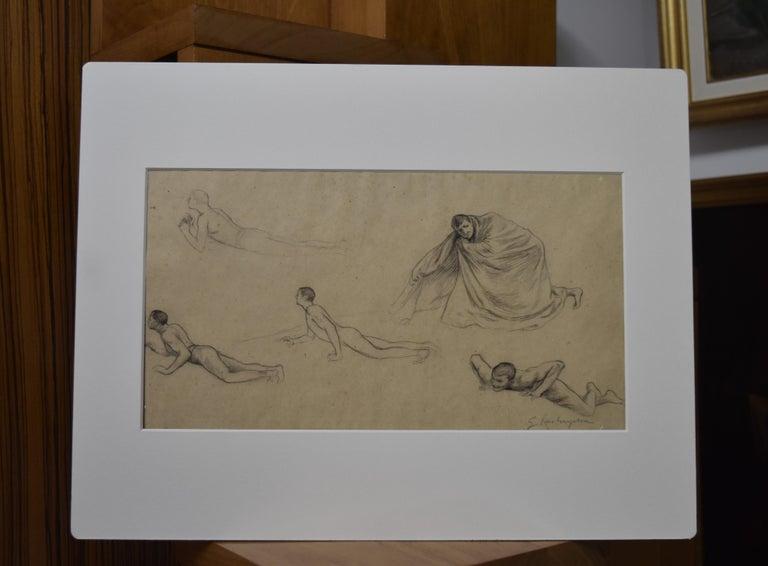 G. A. Rochegrosse (1859-1938) Studies of men, original drawing For Sale 2