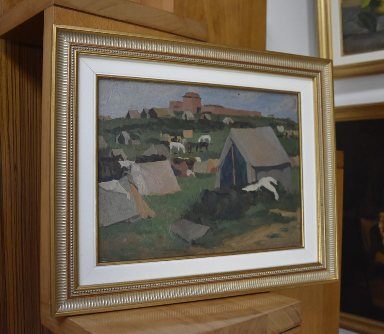 Jean de Gaigneron (1890-1976) A camp with horses Oil on cardboard  27 x 34 cm Modern frame : 39 x 47 cm Provenance : Estate of the Artist  (not signed)  In good condition Jean de Gaigneron, the youngest son of the second marriage of Viscount Marie