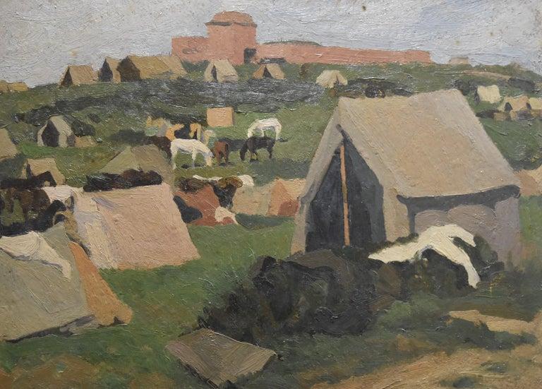 Jean de GAIGNERON (1890 - 1976) A camp with horses, oil on panel - Painting by Jean de GAIGNERON