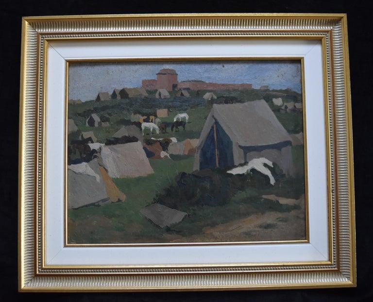 Jean de GAIGNERON (1890 - 1976) A camp with horses, oil on panel - Post-Impressionist Painting by Jean de GAIGNERON