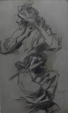 Jules Cheret (1836-1932) Two studies of a woman, 1921 charcoal drawing, signed