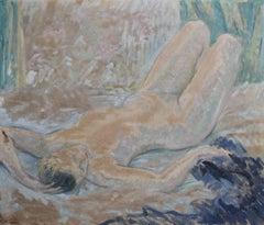 Marguerite De Lottis, A naked woman, Oil on  panel