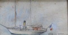 Henri Ottman (1877-1927) , A Yacht,  pastel
