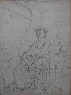 Achille Devéria (1800-1857) Allez au diable, la fille est à moi Original Drawing
