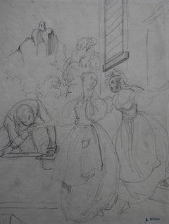 Achille Devéria (1800-1857) A galant scene Original Drawing