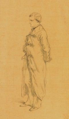 Paul Gavarni (1804-1866) Portrait of Henri Monnier, original drawing