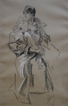 Jules Cheret (1836-1932) An elegant woman, original signed drawing