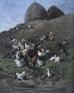 Alexandre Defaux (1826-1900) Hens and roosters in a field, signed, oil on canvas