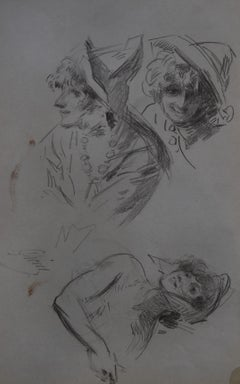 Jules Cheret (1836-1932) Three studies of women, original signed drawing