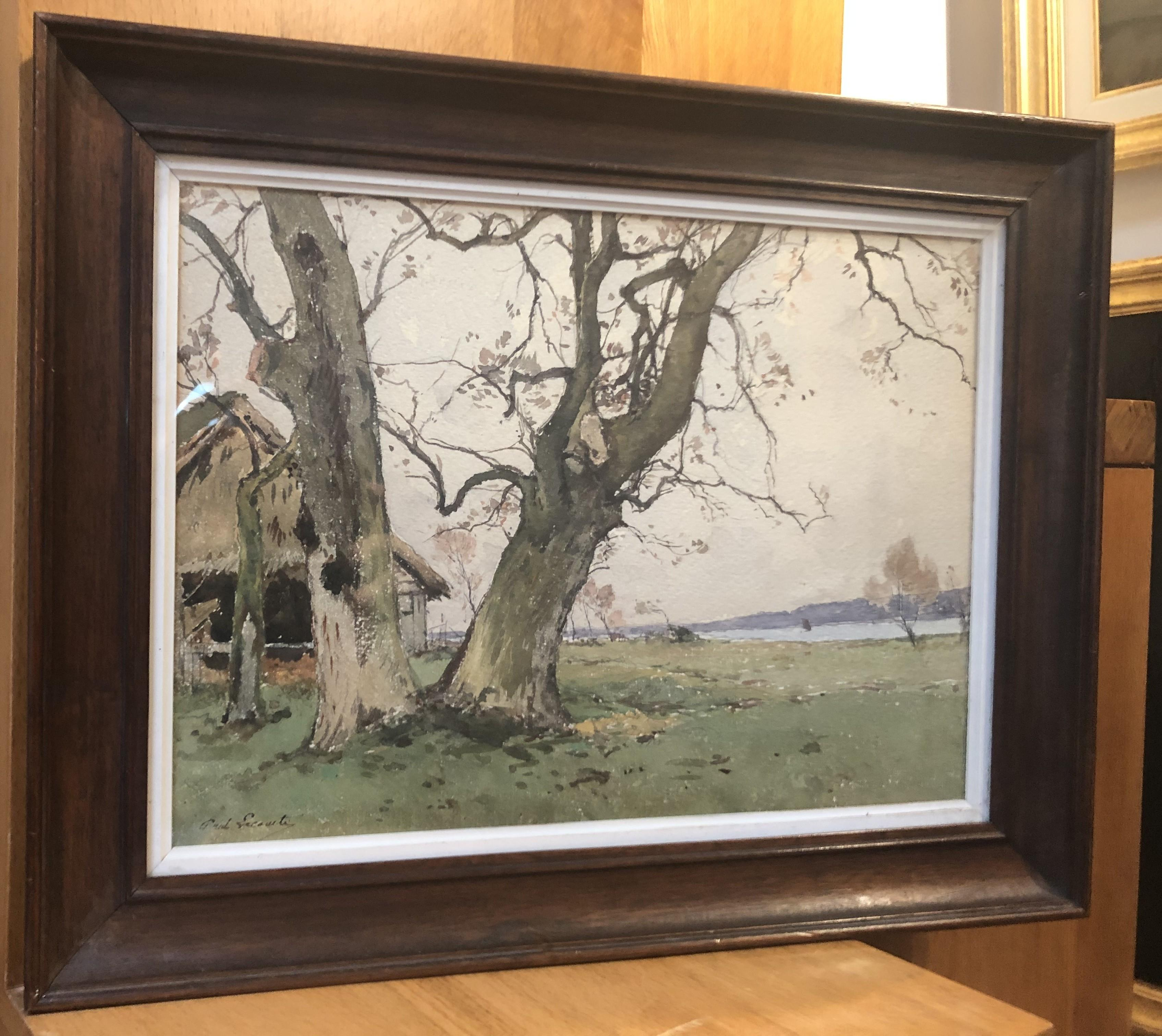 Paul Lecomte (1842-1920)  Two big trees in a field, signed watercolor