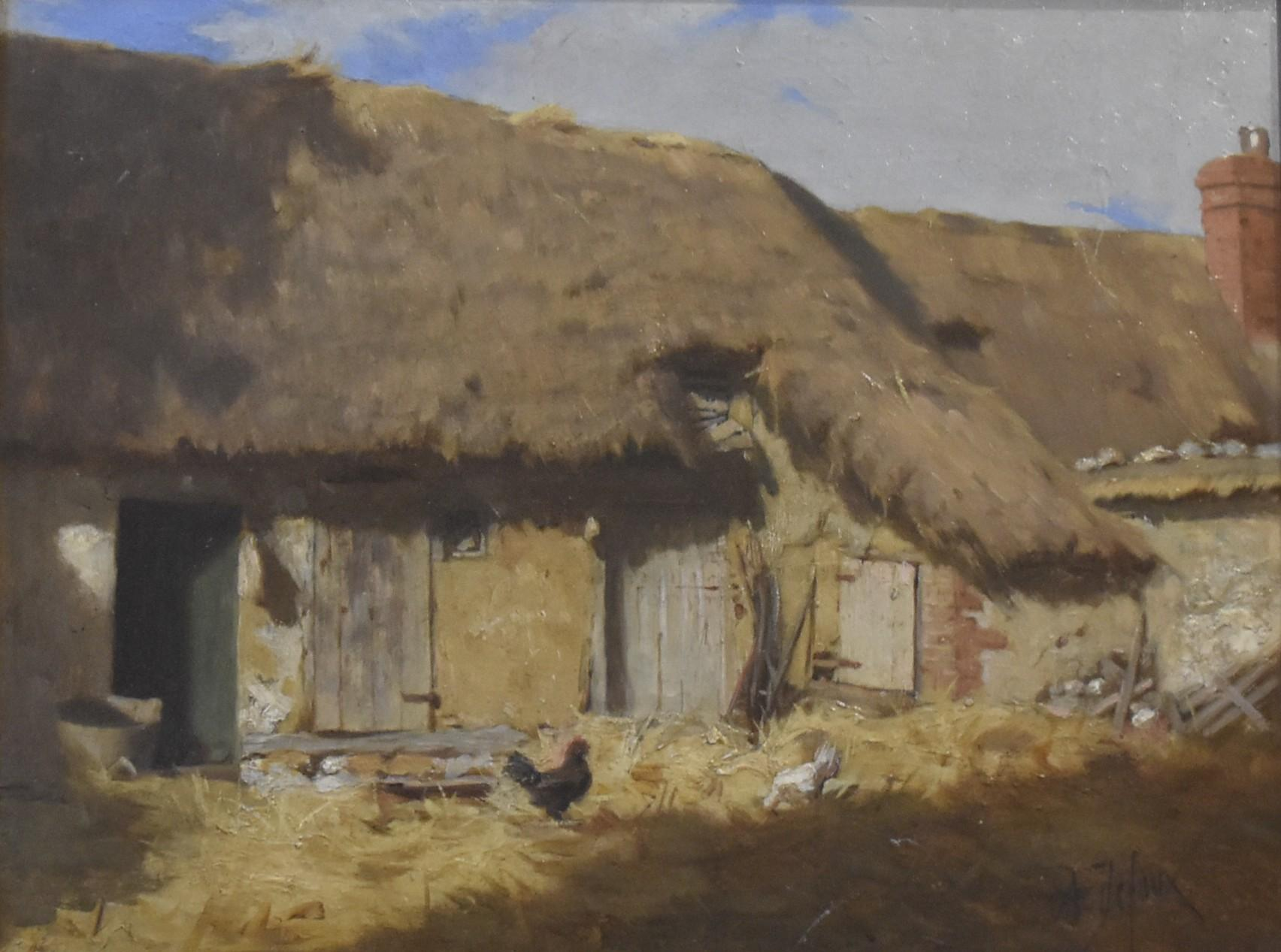 Alexandre Defaux (1826-1900) A Cottage yard, signed oil on panel