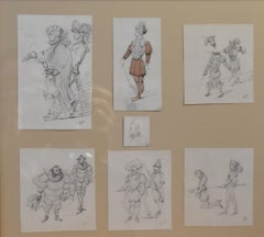Edouard Detaille (1848 1912), Seven historic and comic drawings, framed together