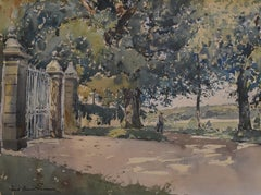 Paul Emile Lecomte (1877-1950)  La Grille (The Gate), signed watercolor