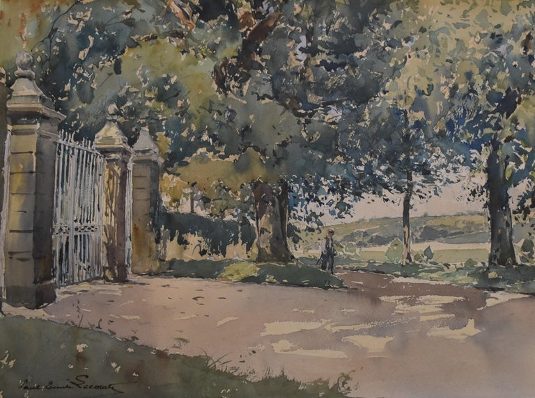 Paul Emile Lecomte (1877-1950)  La Grille (The Gate), signed watercolor   - Art by Paul Emile Lecomte