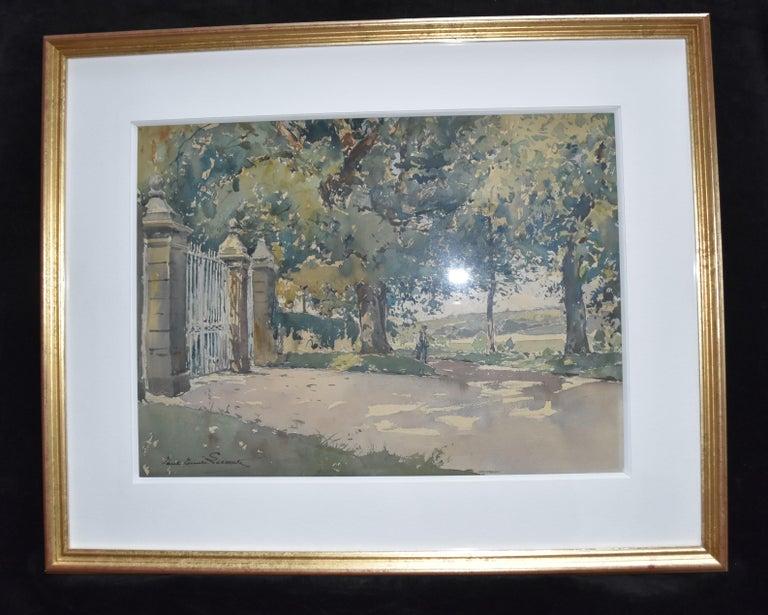 Paul Emile Lecomte (1877-1950)  La Grille (The Gate), signed watercolor   For Sale 3