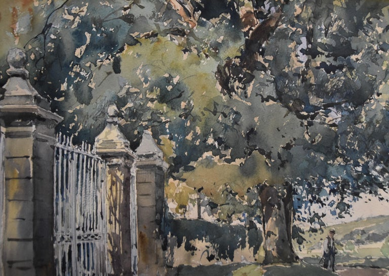 Paul Emile Lecomte (1877-1950) La Grille (The Gate) Signed lower left Watercolor on paper 27 x 37 cm In quite condition: yellowed by time, some stains Framed: 43 x 53 cm  Paul Emile Lecomte (1877– 1950). Painter of watercolors and oil paintings,