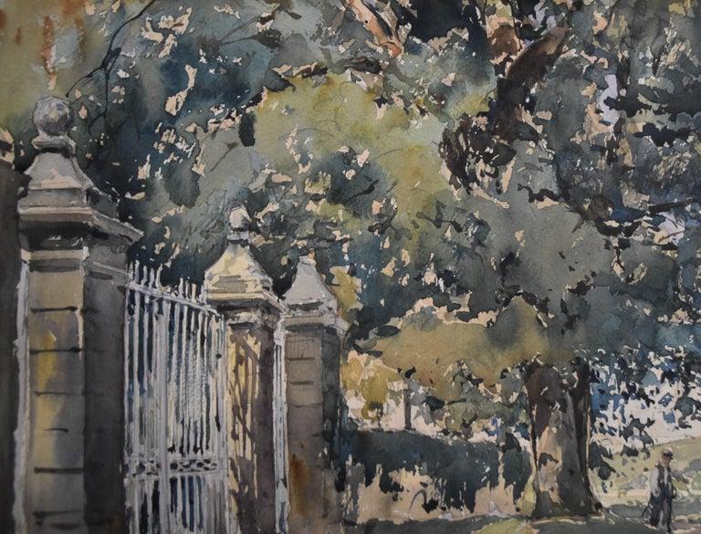 Paul Emile Lecomte (1877-1950)  La Grille (The Gate), signed watercolor   For Sale 2