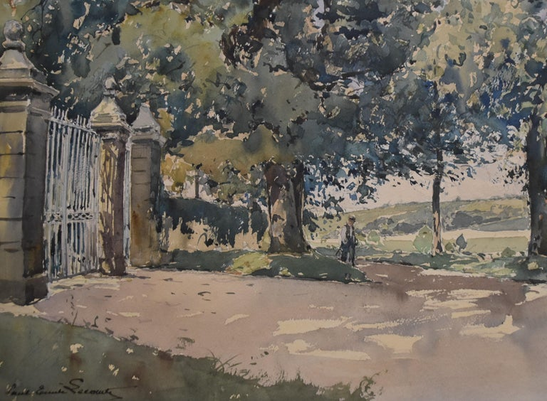 Paul Emile Lecomte (1877-1950)  La Grille (The Gate), signed watercolor   - Gray Figurative Art by Paul Emile Lecomte