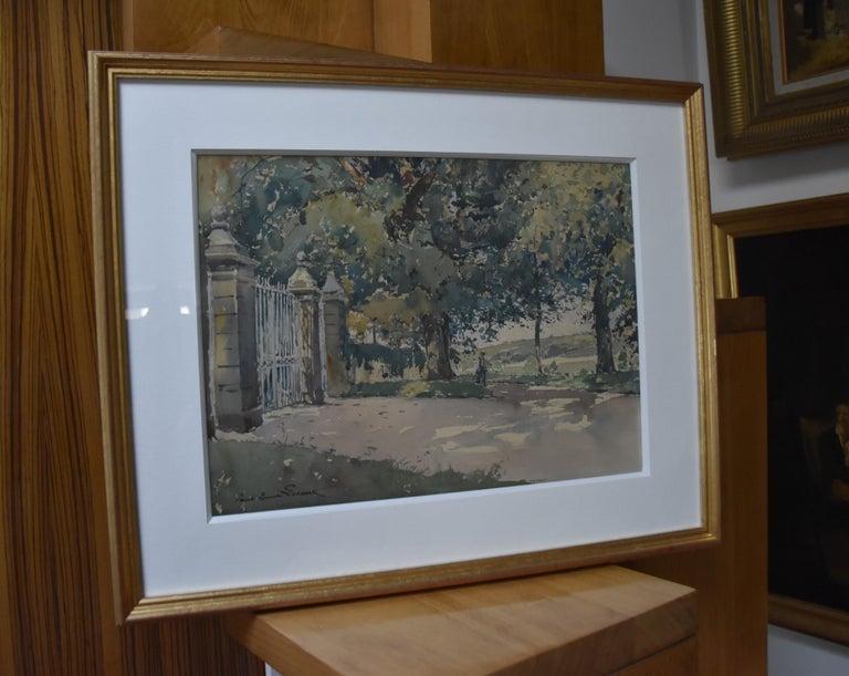 Paul Emile Lecomte (1877-1950)  La Grille (The Gate), signed watercolor   For Sale 5