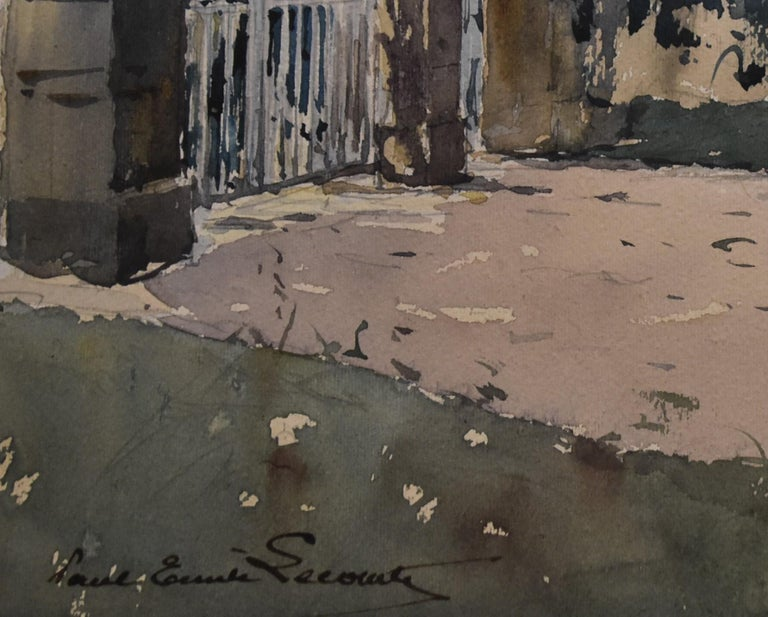 Paul Emile Lecomte (1877-1950)  La Grille (The Gate), signed watercolor   For Sale 1
