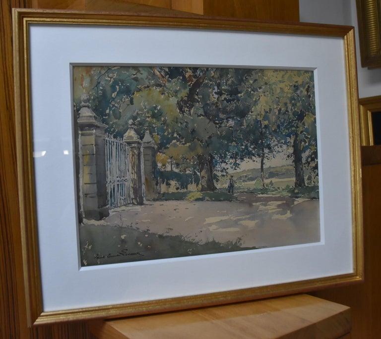 Paul Emile Lecomte (1877-1950)  La Grille (The Gate), signed watercolor   - Post-Impressionist Art by Paul Emile Lecomte