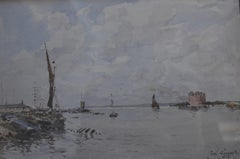 Paul Lecomte (1842-1920) View of Gravesend, signed watercolor