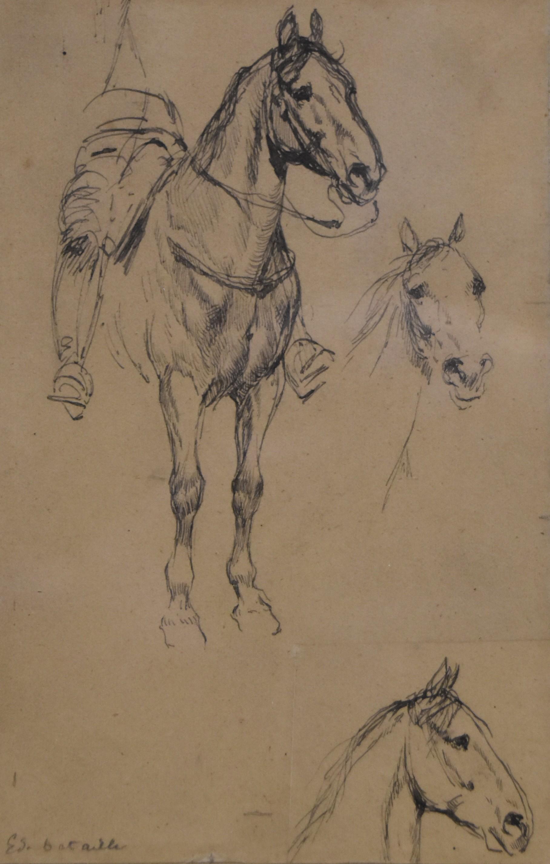 Edouard Detaille (1848 1912), Three studies of horses, original signed Drawing