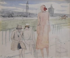 Pierre Olivier DUBAUT (1886-1968)  The Lady in pink, signed watercolor