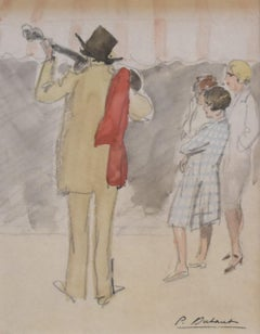 Pierre Olivier DUBAUT (1886-1968)  The street musician, signed watercolor