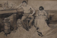 French school 19th century Characters in a bohemian interior, drawing