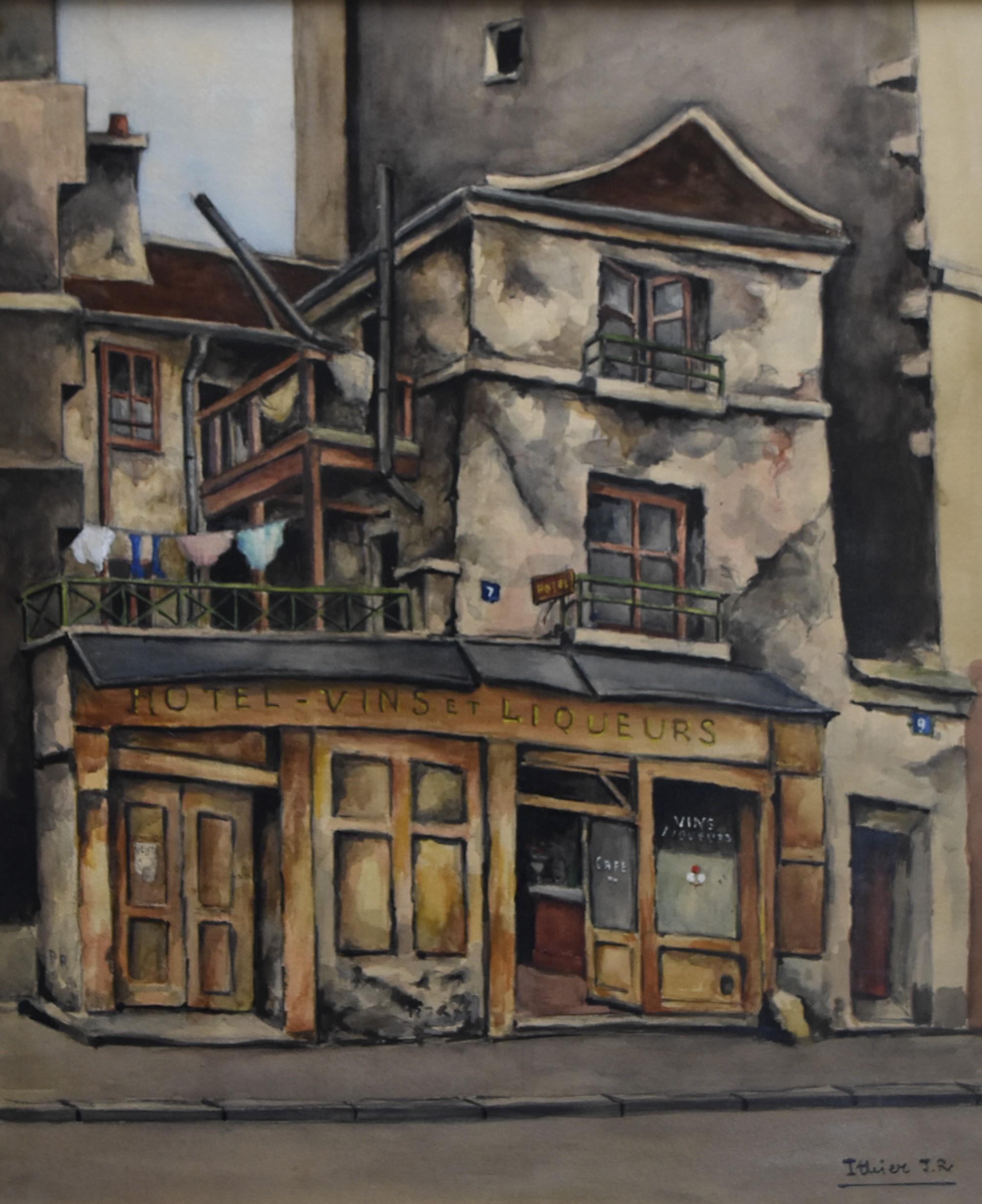 Jean Robert Ithier (1904-1977) La Rue Thouin, Paris, signed watercolor