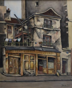Jean Robert Ithier (1904-1977) La Rue Thouin, Paris, signed watercolor