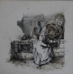 Attributed to Eugène Lami (1800-1890) A Maid feeding rabbits,  Watercolor