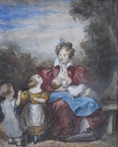 Attributed to Eugène Devéria (1805-1865) La famille heureuse, watercolor
