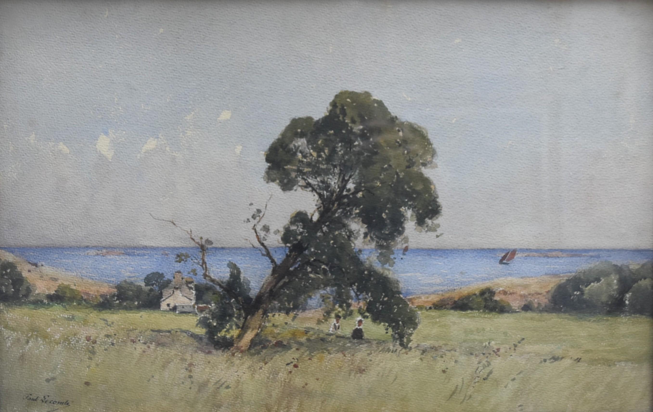 Paul Lecomte (1842-1920)  A Brittany landscape, signed watercolor
