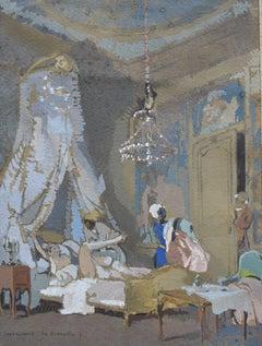 Guirand de Scevola  (1871-1950) Le lever, a galant scene, gouache