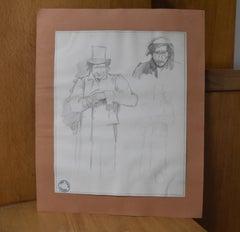 Jean-Pierre Laurens (1895-1932) Studies of men, original drawing