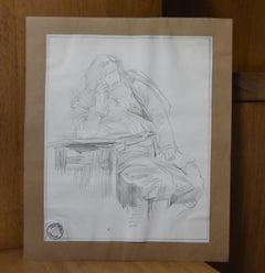 Jean-Pierre Laurens (1895-1932) Study of a sitting bearded man, original drawing