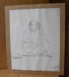 Jean-Pierre Laurens (1895-1932) Study of a sitting beggar, original drawing