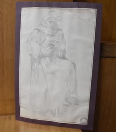 Jean-Pierre Laurens (1895-1932) Study of a reading monk , original drawing