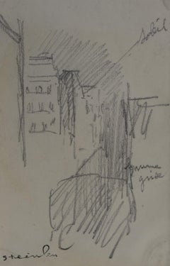 Theophile Alexandre Steinlen (1859-1923) Study of a street in Paris, drawing