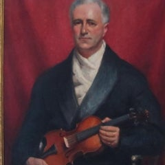 Portrait Of Claude Tryon With A Violin -20th century,oil, portrait painting