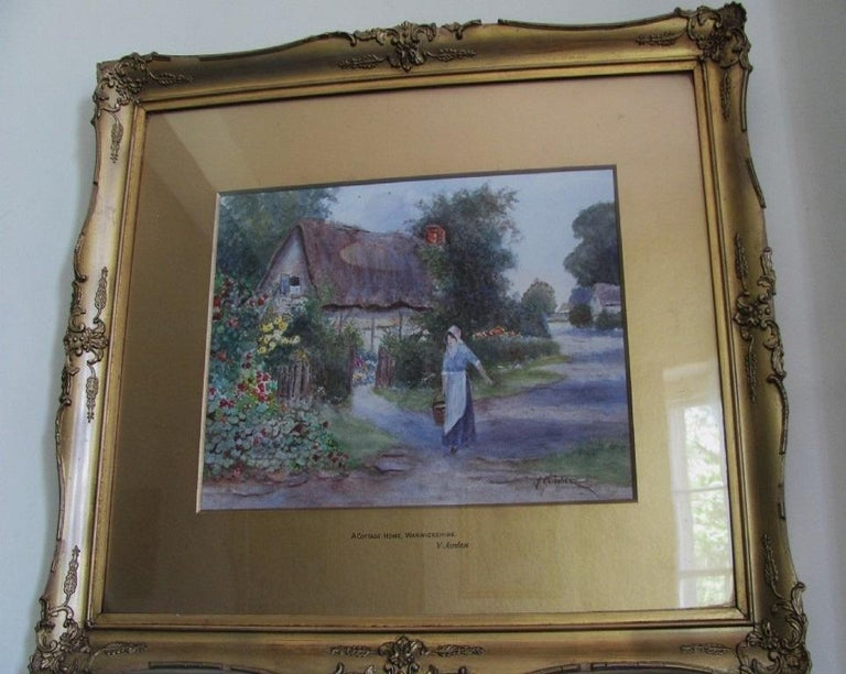 Warwickshire Country Cottage - watercolour, 19th century,  landscape  - Naturalistic Painting by 19th century English school