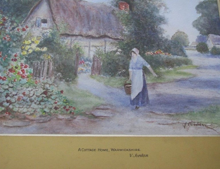 Warwickshire Country Cottage - watercolour, 19th century,  landscape  - Painting by 19th century English school