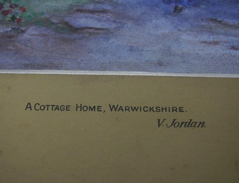 Warwickshire Country Cottage - watercolour, 19th century,  landscape  - Gray Landscape Painting by 19th century English school