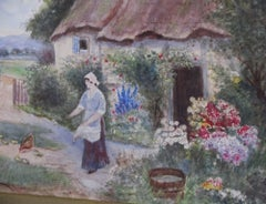 Surrey Country Cottage scene - 19th Century, watercolour, landscape painting