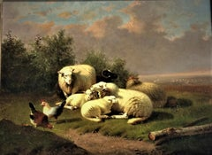 19th century landscape of Sheep and poultry in a meadow, Jacob Van Dieghem