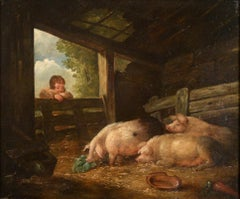 Pigs in a barn,country scene, 18th century landscape, Attributed George Morland